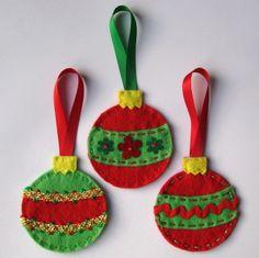 3x Hanging Felt Christmas Decorations