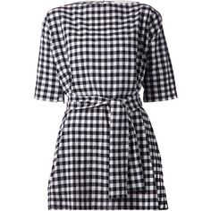 Chloé gingham check tunic (€770) ❤ liked on Polyvore featuring tops, tunics, dresses, vestidos, chloe, blue, checkered top, boat neck tops, boatneck top and blue tunic
