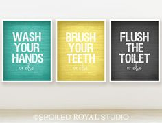 Or Else Bathroom Prints  8x10  Set of 3  You by spoiledroyalstudio, $36.00