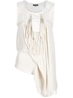 Nude cotton blend top from Ann Demeulemeester featuring a round neck, a sleeveless cut, a lace top panel, pleated gathered detail at the front and back and nude tassels.