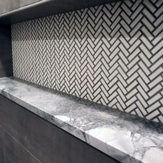 Herringbone Shower Niche White Tile Ideas With Marble Shelf And Grey Grout