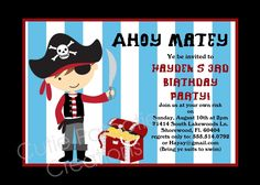 Image detail for -home kids birthday invitations pirates pirate birthday invitations