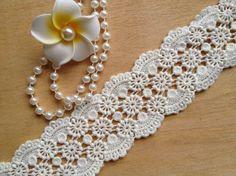 Cotton Lace Trim - Off White Cotton Lace, Crochet Lace Trim, DIY Handmade Accessory Fabric Embellishment, Embellishments, Crochet Stitches, Crochet Pattern, Garter Stitch, Lace Design, Loom, Iris, Minecraft