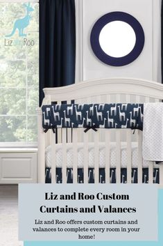 Choose from Solid Navy, Solid White Weave, Solid Petal Pink Linen, and Solid Gray Crosshatch (faint gray on gray crosshatch pattern) curtains. All fabrics have coordinating pieces including crib skirts, crib rail covers and more. All solid color window treatments are custom made and take 4 weeks to ship. This includes two (2) panels, 50″ width and you choose the drop length OR custom length. Made in USA. Blackout liner available. Crib Rail Cover, Pattern Curtains, Curtain Patterns, Chic Nursery, Crib Skirts, Toddler Rooms, Custom Curtains, Nursery Design