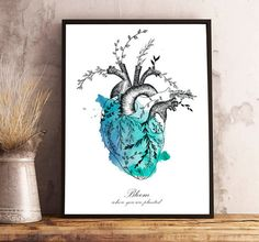 Floral HEART watercolor,anatomy,flowers,bloom where you are planted,quote,modern decoration,wall art,drawing,illustration,original gift,love. CORAZON,moderna ilustracion corazon real humano con flores, frase 'Bloom where you are planted', regalo original,amor,pared,arte,decoracion by MARAQUELA