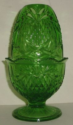 Vintage Green Fenton Glass Fairy Lamp / Light. I saw one exactly like this today ,but clear glass.