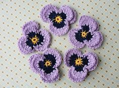 crocheted pansies on Etsy