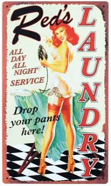 Red's Laundry Metal Sign