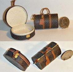 Louis Vuitton Signed 2 Piece Dollhouse Miniature Luggage Set LV by Jilienne Barbie E Ken, Barbie House, Barbie Dolls, Mini Purse, Mini Bag, Reborn Dolls Silicone, Barbie Accessories, Mini Things, Luggage Sets