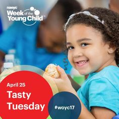 Tasty Tuesday is April 25, 2017! This fun, food-themed day is about more than just cheese and crackers. Cooking together connects math with literacy skills, science, and more. Create your own healthy snacks and share the recipes and photos of your creations on NAEYC's Facebook page or post to Twitter using the hashtag #woyc17.