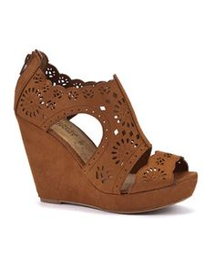 Tan (Stone ) Tan Cut Out Cage Wedges  | 272149418 | New Look