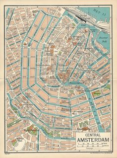 Vintage Map Of Amsterdam Antique Map Of Central Amsterdam - Amsterdam old map