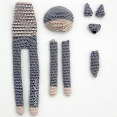 Crochet Wolf, Crochet Rabbit, Crochet Animals, Crochet Yarn, Crochet Cardigan Pattern, Crochet Doll Pattern, Crochet Patterns Amigurumi, Crochet Baby Toys, Baby Knitting