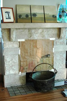 Fireplace (with copper apple butter kettle!) by Stumbles & Stitches, via Flickr - love the art work Kettles, Apple Butter, Paddles, Art Work, Stitches, Copper, Crafty, Artwork, Work Of Art