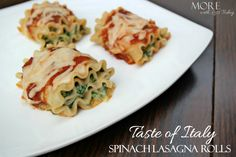 Taste of Italy®  Bertolli®. Spinach Lasagna Rolls - More with Less Today - Easy and Delicious Taste of Italy Lasagna Rolls with Spinach and Three Cheeses #ad