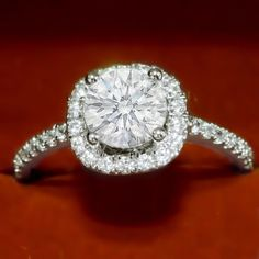 1.19ct Solitaire With Halo Accents Natural Diamond Engagement Ring Solid 14k White Gold #ManiJewel #Solitaire