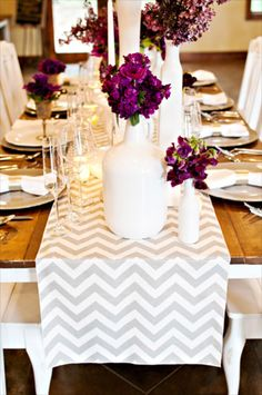 purple with grey chevron. Love the white vase with purple flowers
