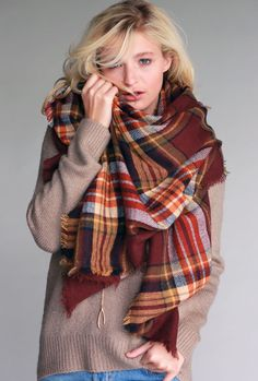 Urban Versatility Oversized Plaid Blanket Scarf in Burgundy | Sincerely Sweet Boutique