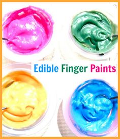 Edible Finger Paints: fun for everyone! Especially the 1 year old with major sensory issues.