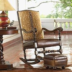 Deer Hide rocking chair and leather footstool from King Ranch how much is the rocker and stool. Deer Mount Decor, Leather Footstool, Deer Hide, Swivel Rocker Recliner Chair, Antique Interior, Transitional Living Rooms, Find Furniture, Vintage Furniture, Old Chairs