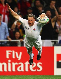 England's Chris Ashton carries out his traditional dive