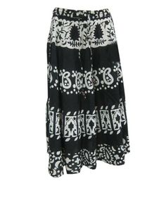 Bohemian Skirt - Boho Gypsy Cotton Skirts White Black Print Summer Peasant Skirt Mogul Interior,http://www.amazon.com/dp/B00CE5HQ4W/ref=cm_sw_r_pi_dp_ZrQbsb1ZS6F09KHX