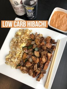 Low Carb Hibachi calories & macros included with a lightened up yum yum sauce Outdoor Griddle Recipes, Pellet Grill Recipes, Grilling Recipes, Dog Food Recipes, Cooking Recipes, Cooking 101, Low Carb Macros, Hibachi Chicken, Hibachi Steak