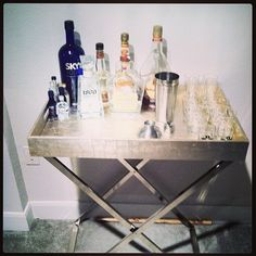 My new bar!! #westelmcharlotte #butlertray