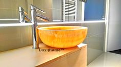 Round yellow Gemma We produce onyx basins & onyx stone sinks in various sizes. The sink Gemma 501 available in 4 sizes 35 cm; 45 cm and 50 cm. ™ onyx are exported all over the world. We are looking for importers and distributors from your country. Yellow Marble, Black Marble, Kohler Sink, Stone Sink, Diy Bathroom Remodel, Stone Countertops, Stone Mosaic, Natural Stones, Tableware