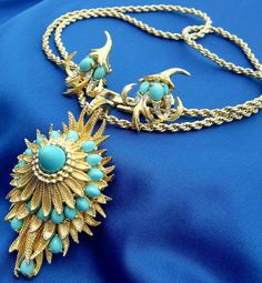 Vintage BOUCHER Signed Turquoise Cabochon Convertible Necklace & Earring Set!   eBay