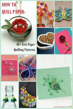 Learn how to quill paper with these free paper quilling patterns. Embellish all of your crafts with beautiful paper quilling designs paper crafters will love.