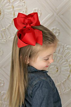 U CHOOSE Big Hair bow baby girl grosgrain hairbow headband toddler newbo. U CHOOSE Big Hair bow baby girl grosgrain hairbow headband toddler newborn Large Bows Red Ribbon, Grosgrain Ribbon, Crazy Hair Boys, Bow Hair Clips, Hair Bow, Bow Clip, Ribbon Hairstyle, Girl Hair Dos, Cheer Poses
