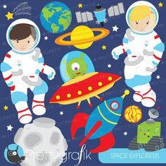 Astronauts Clipart - for invitations, educational use, and creative projects.