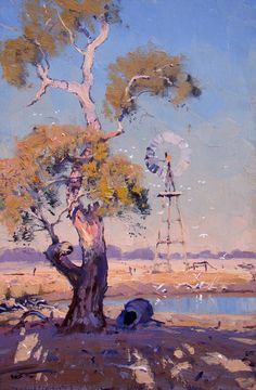 Cockatoos at the Waterhole by Warwick Fuller