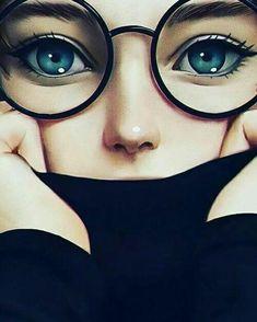 Girl with Gorgeous Blue Eyes Girly Drawings, Art Drawings Sketches Simple, Pencil Drawings, Cute Cartoon Girl, Cartoon Art, Islamic Cartoon, Anime Muslim, Hijab Cartoon, Cute Girl Drawing
