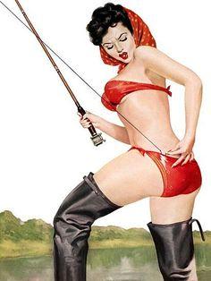 Pin Up Art Brunette Beauty In Red Bikini Poster