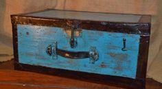 Piccola Cassa Cassapanca shabby chic Industrial azzurra