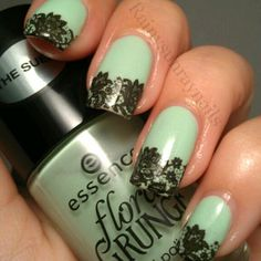 Seafoam and Black Lace Nails