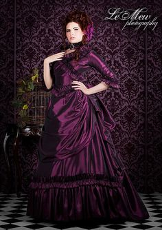 Taffeta Mina Victorian Bustle Gown Custom Colors