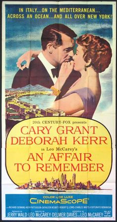 "Cary Grant and Deborah Kerr in ""An Affair to Remember."" Kerr and Grant improvised many of their scenes throughout filming, and a number of lines that made it to the final cut of the film came from the actors' improvisation."