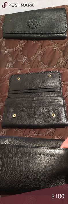 Tory Burch (BLACK) wallet 💯Authentic Tory Burch wallet all leather, 10 card slots, change and slide pockets.... Snaps shut.  Pebble leather... If I don't get what I want I will keep it.  Very clean no wear on corners or bottom.  Has a tiny peel in front left but can't notice unless looking for it.  Beautiful wallet.  Pet free smoke free Tory Burch Bags Wallets