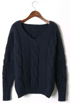 Classic Cable Knit Puff Sleeve Sweater in Navy
