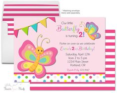 Erfly Birthday Invitation Party Invite Theme Invitations