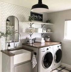 Laundry Decor, Laundry Room Organization, Laundry Room Design, Organization Ideas, Organized Laundry Rooms, Small Laundry Rooms, Laundry Area, Laundry Storage, Storage Ideas
