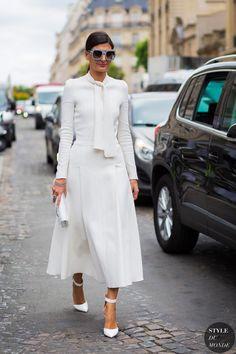 Giovanna Engelbert In a Giambattista Valli dress & Gianvito Rossi shoes before Dior couture show.