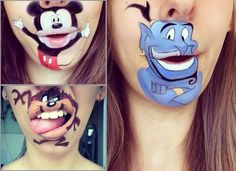 Face painting art. Mickey Mouse, Tazmania Devil, the Genie on Aladdin and 31 Crazy Lip Art Designs that Will Leave You Craving for More. Please also visit www.JustForYouPropheticArt.com for more colorful art you might like to pin. Thanks for looking!