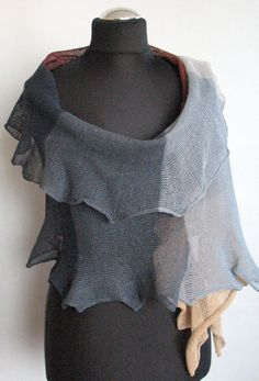Linen Scarf Shawl Wrap Beige Brown Gray Striped by Initasworks, $85.00