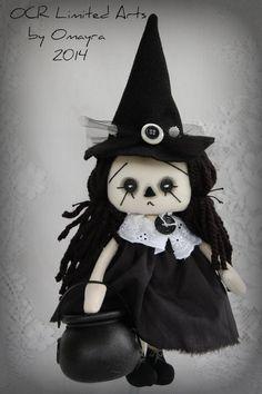 Raggedy Sable Annie Witch cute Halloween Cauldron ooak