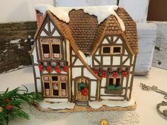 Vintage Lefton Christmas Village Piece The Hampshire Designed by Byron Wood by allthatsvintage56 on Etsy