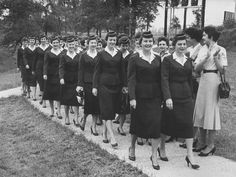 A 1958 commencement ceremony for stewardess My moms graduating class!! :)